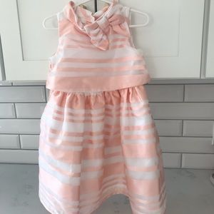 Janie and Jack striped organza dress pink white 3T